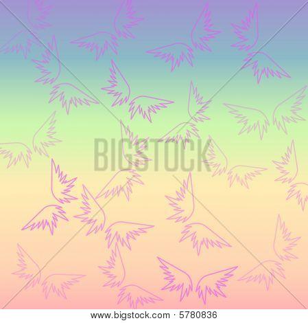 Retro  multicolored wings wallpaper