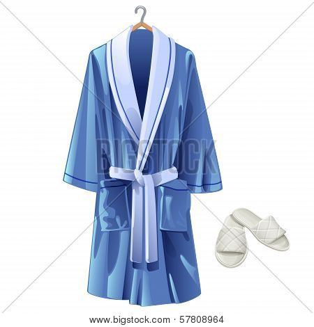 Vector Blue Bathrobe And White Slippers