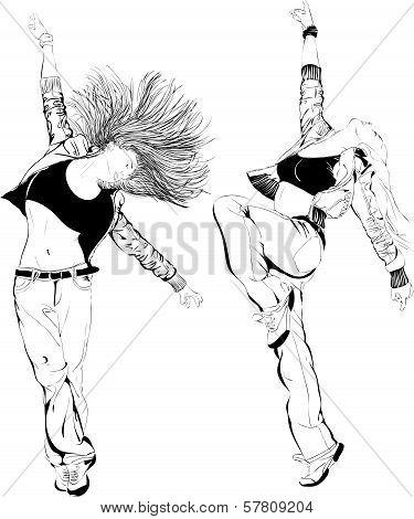Girl dancing, vector