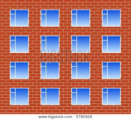 Brickwall with many windows
