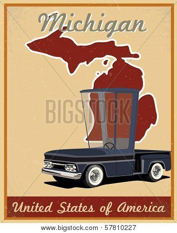 Michigan road trip vintage poster