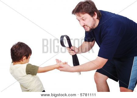 Young Father Is Punishing His Little Son, Isolated