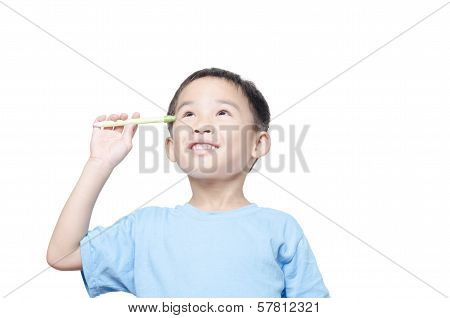 Asian student boy has idea on white background