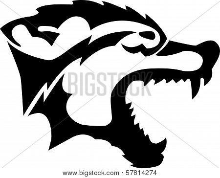 image of an wolf head angry on a white background