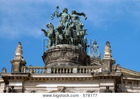 Opera House Statue In Dresden, Germany