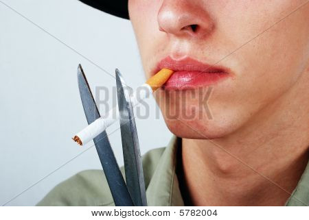 Young Male Is About To Stop Smoking