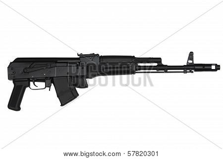 Assault Rifle With Butt Stock Retracted Right Side View Isolated On White
