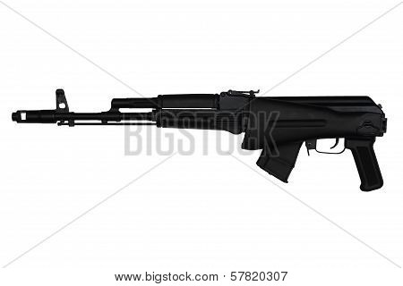 Assault Rifle With Butt Stock Retracted Left Side View Isolated On White