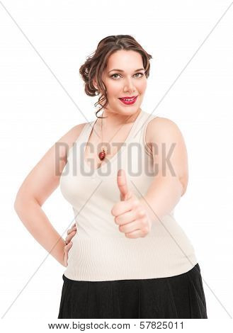 Beautiful Plus Size Woman Showing Thumbs Up Sign
