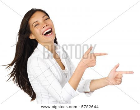 Woman Pointing Laughing