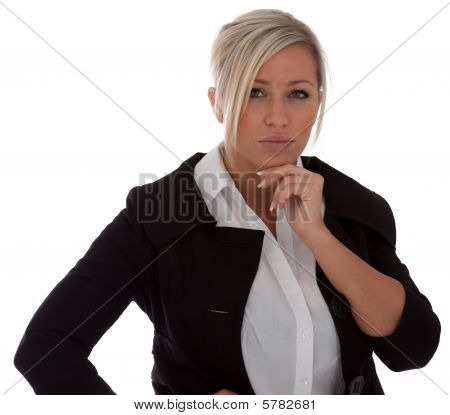 A Young Businesswoman Thinks  isolated on white