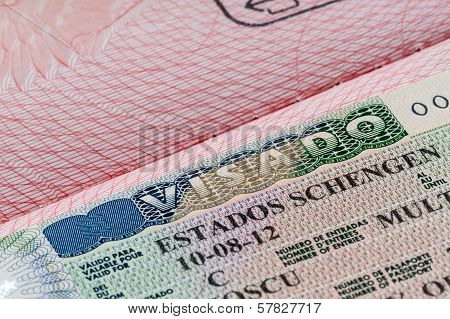 shot of few passport with Schengen visa