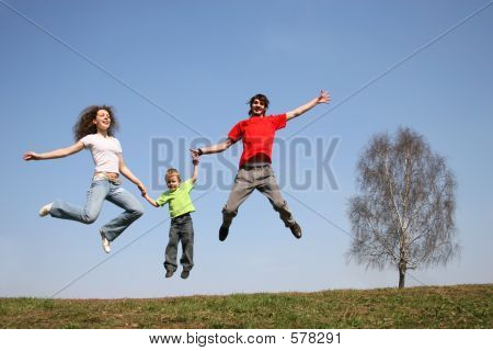 Jumping Family. Spring.