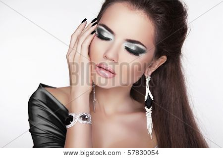 Glamour Fashion Woman Portrait. Elegant Girl Posing With Black Makeup And Luxury Jewelry. Cute Femal
