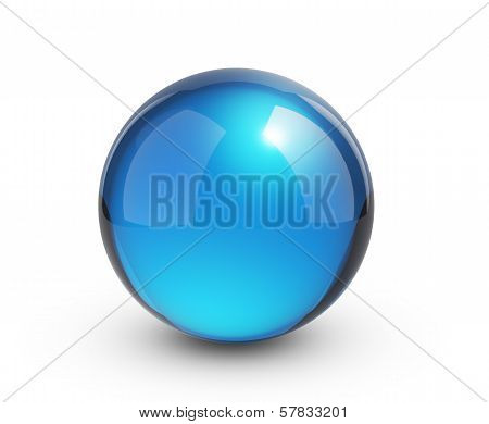 glass sphere on white - isolated with clipping path
