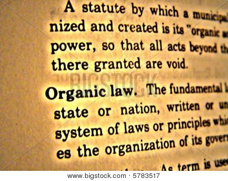 Dictionary Organic Law