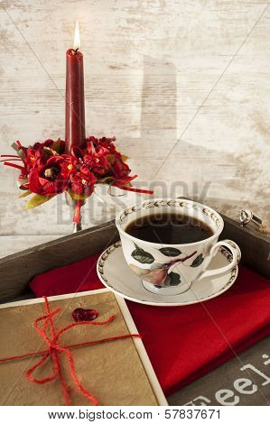 Valentine Greeting Card And Cup On Wooden Tray