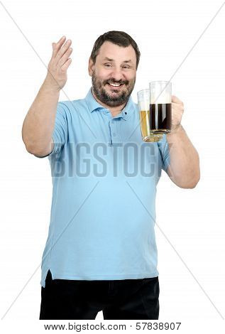 Smiling Man Holds Two Beer Mugs