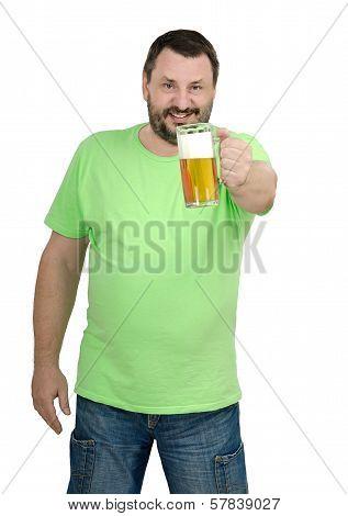 Man In T-shirt Keeping Light Ale Glass