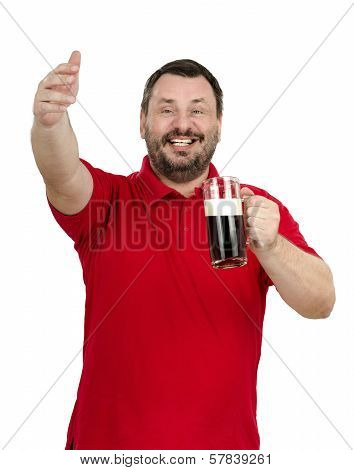 Man With Beer In Hand Calling Friends