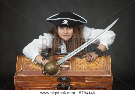 Woman Pirate With A Sabre And Treasures
