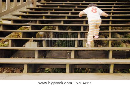 Baby Walk In The Wooden Stair