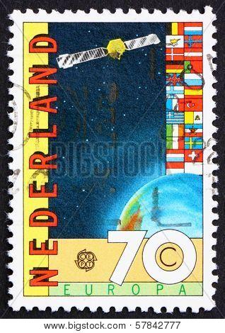 Postage Stamp Netherlands 1983 Satellite And Globe