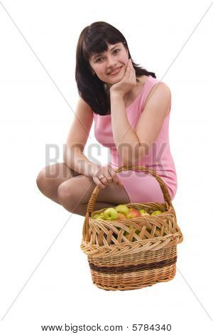 Girl With A Basket Of Apples.