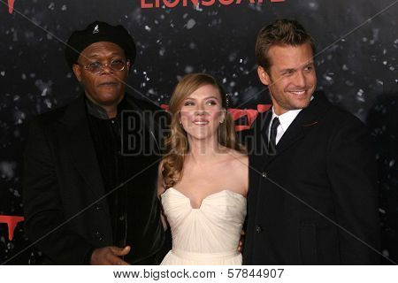 Samuel L. Jackson with Scarlett Johansson and Gabriel Macht   at the Los Angeles Premiere of 'The Spirit'. Grauman's Chinese Theatre, Hollywood, CA. 12-17-08