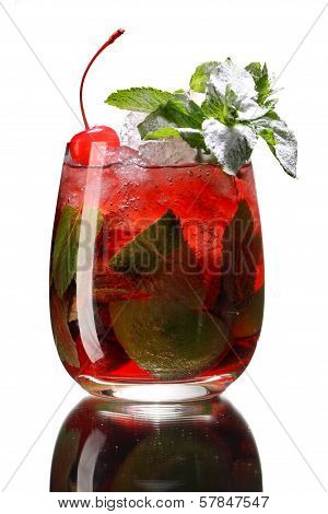 Red berry mojito in a glass with ice