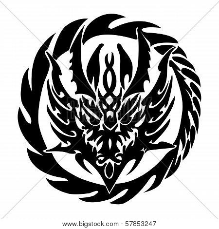 Black Ring of Fire of the Dragon for Tattoo Design