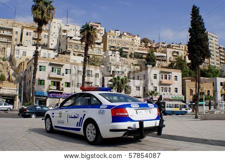 Police car downtown Amman