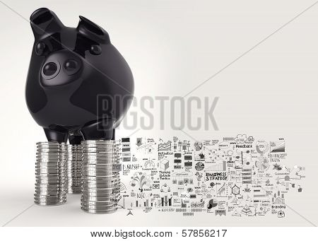 Black Piggy Bank 3D Standing Over Coin And Hand Drawn Business Stategy As Concept