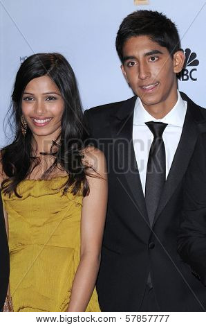 Freida Pinto and Dev Patel in the press room at the 66th Annual Golden Globe Awards. Beverly Hilton Hotel, Beverly Hills, CA. 01-11-09