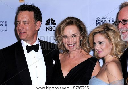 Tom Hanks and Jessica Lange with Drew Barrymore and Gary Goetzman in the press room at the 66th Annual Golden Globe Awards. Beverly Hilton Hotel, Beverly Hills, CA. 01-11-09