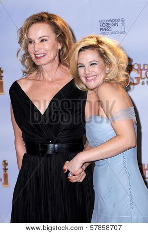 Jessica Lange and Drew Barrymore in the press room at the 66th Annual Golden Globe Awards. Beverly Hilton Hotel, Beverly Hills, CA. 01-11-09