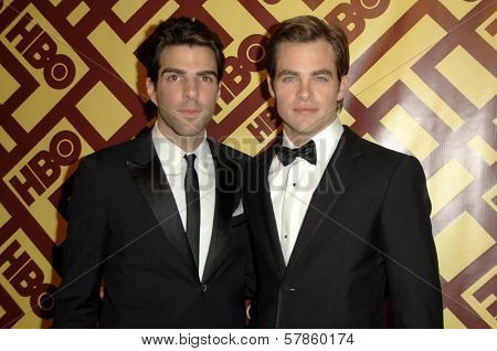 Zachary Quinto and Chris Pine  at the HBO Golden Globe Awards After Party. Circa 55 Restaurant, Beverly Hills, CA. 01-11-09
