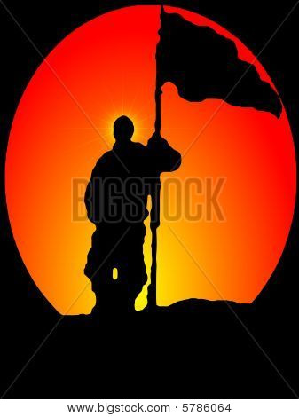 Illustration - Man holding Flag