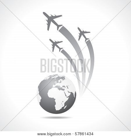Airplanes flying around a globe