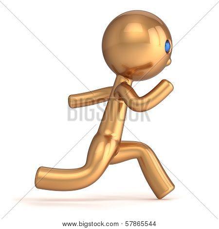 Running man pursuit character runner person fast start speed endurance. Champion Winner first place