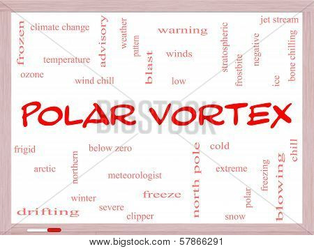 Polar Vortex Word Cloud Concept On A Whiteboard