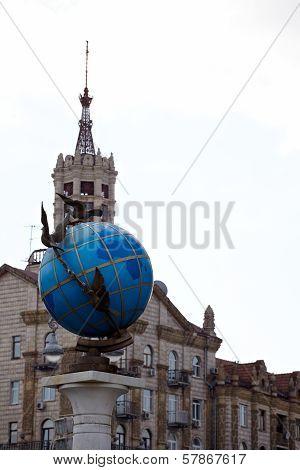 Blue Terrestrial Globe Sculpture, Kiev