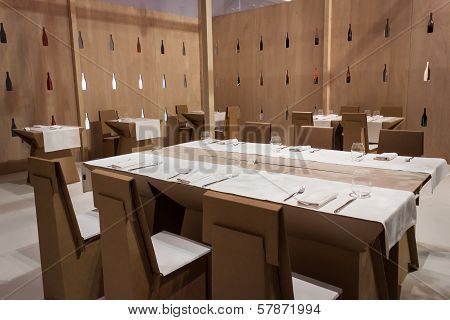 Restaurant With Cardboard Tables And Chairs At Homi, Home International Show In Milan, Italy