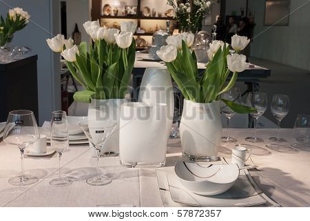 Tableware And Flowers On Display At Homi, Home International Show In Milan, Italy