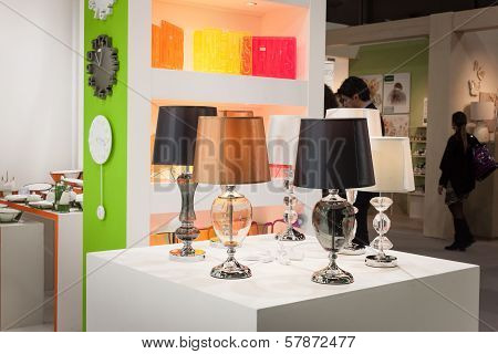 Lamps On Display At Homi, Home International Show In Milan, Italy