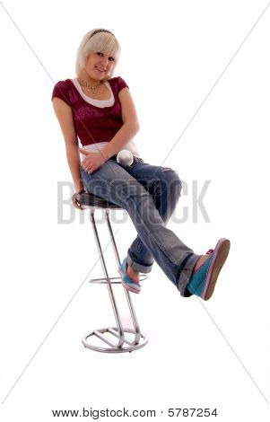 Sitting Fun Blonde Girl. Isolated On White Background.