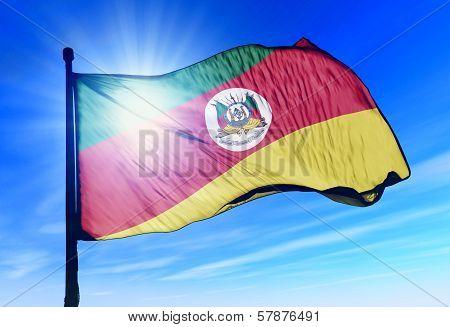 Rio Grande do Sul (Brazil) flag waving on the wind