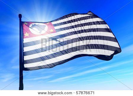 San Paulo (Brazil) flag waving on the wind