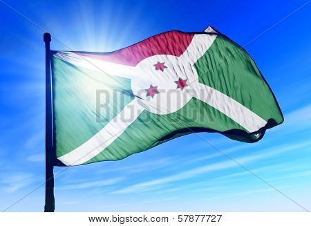 Burundi flag waving on the wind