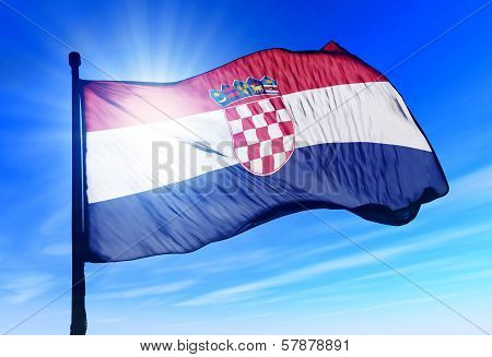 Croatia flag waving on the wind